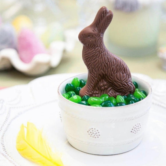 milk chocolate bunny with jelly beans