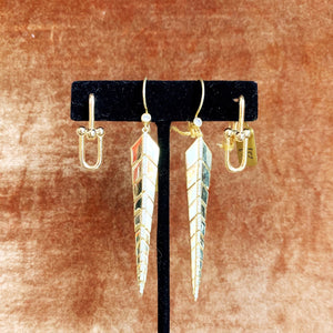 Gold Links & Feather Dangle Earrings