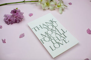 """thank you mom for all that love"" Stonecarved Note Card"