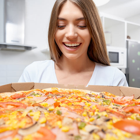 Woman Excited For Pizza Boombod Diet