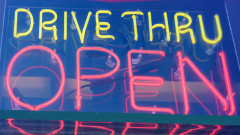 Drive Thru Open Sign Banish Cravings With Boombod