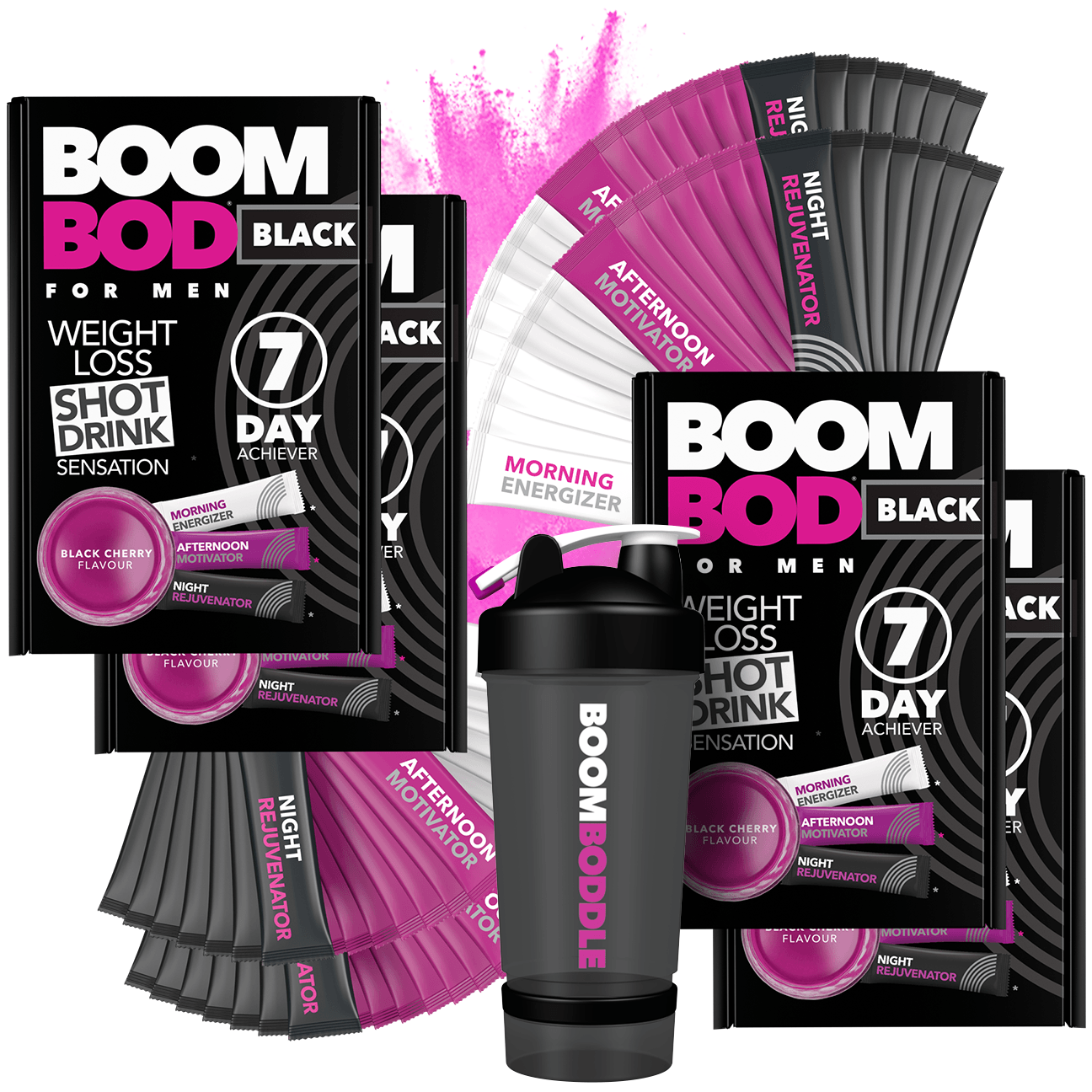 Boombod 28 Day Achiever Men's with Black 20oz Shaker Bottle | Black Cherry | Weight Loss Shot Drink