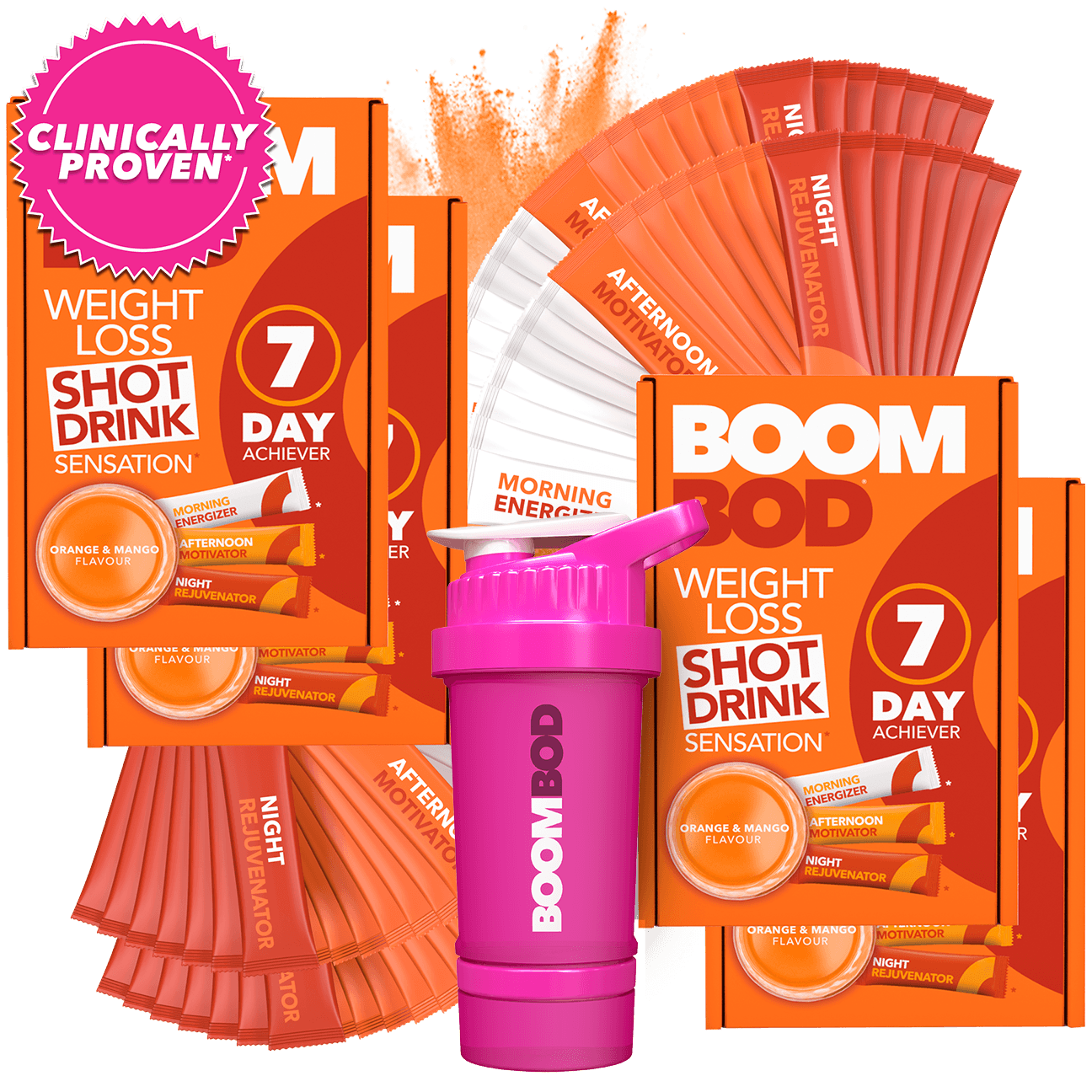 Boombod 28 Day Achiever with 20oz Pink Shaker Bottle | Orange Mango | Weight Loss Shot Drink