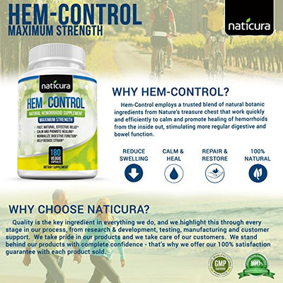 Hem-Control Natural Hemorrhoid Treatment Supplement -Helps To Calm, Repair & Promote Healing of the Inflamed, Damaged Tissue and Swollen Hemorrhoids - 180 Vegan Capsules for Hemroid & Colon Health with Blond Psyllium Husk