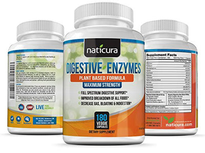 Digestive Enzymes With Probiotics & Prebiotics - 180 capsules Enzyme Supplement for Healthy Digestion & Help with IBS, Gas, Bloating and Lactose Intolernce