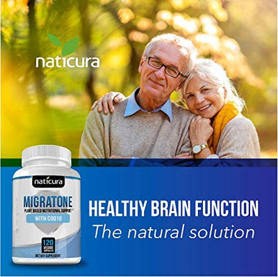 Migraine Defense  Natural Headache Relief Supplement - Helps to Prevent Nausea, Sensitivity & Auras from Tension & Chronic Strain - Doctor Recommended Long-Term Protection & Brain Support - 120 Vegan Capsules
