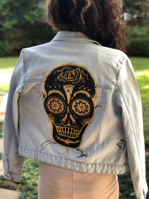 Hand Painted Denim Jacket - Skull