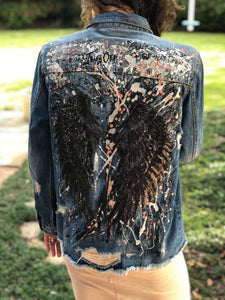 Hand Painted Denim Jacket - Black Wings