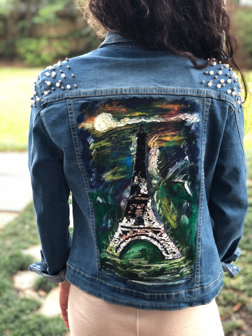 Hand Painted Denim Jacket - Eiffel Tower