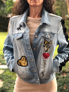Hand Painted Denim Jacket - Love