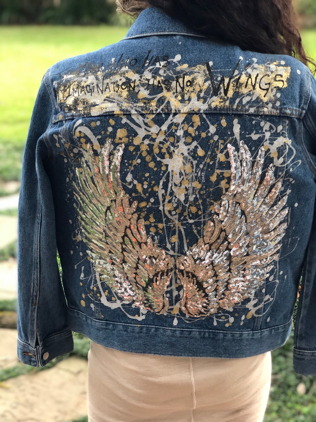 Hand Painted Denim Jacket - Silver Wings