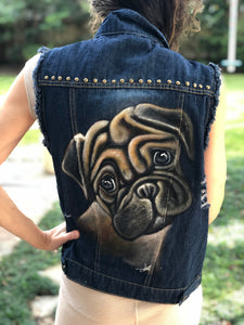 Hand Painted Denim Vest - Pug