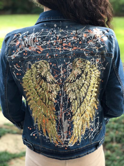 Hand Painted Denim Jacket - Gold Wings