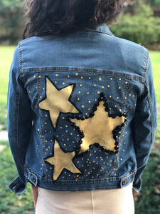 Hand Painted Denim Jacket - Stars