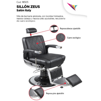 SALON ITALY SILLON BARBERO ZEUS EASY NEGRO