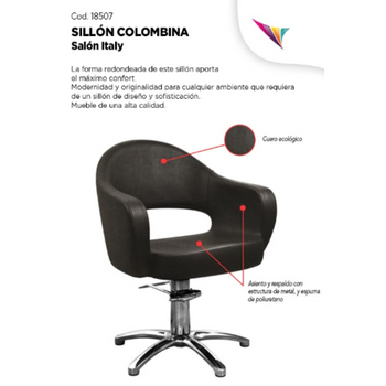 SALON ITALY SILLON COLOMBINA 008 NEGRO