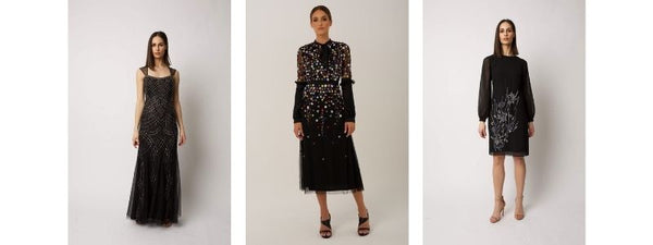 black sequined gowns Raishma red carpet fashion emmys 2021 beadwork embroidery
