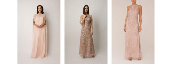 Raishma couture blush sequin embroidered beadwork gowns dress emmys red carpet fashion
