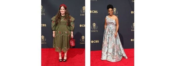 Aidy Bryant Amber Ruffin red carpet fashion floral designer dress emmys Simone Rocha couture