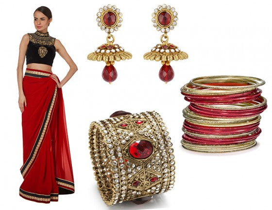 Black and red saree by Raishma SS14 paired with jewellry by Bees