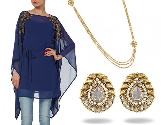 Blue Raishma SS14 kaftan paired with jewellry by Bees