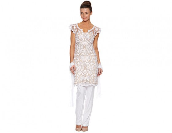 Ivory and white embroidered trouser suit