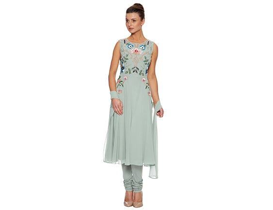 Mint churidar suit Asian wedding guest outfit