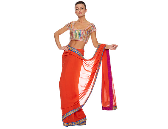 Orange saree wedding guest outfit