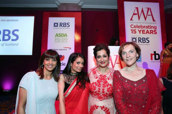Riz Lateef, Sonali Shah and Justine Miliband all dressed by designer Raishma Islam (middle) AWA 2014