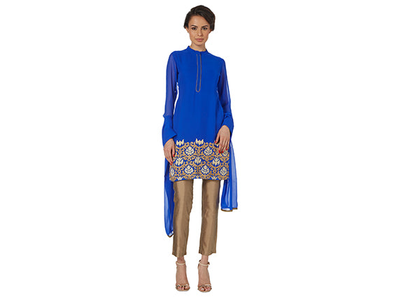 Royal blue long sleeved churidar suit Asian wedding guest outfit