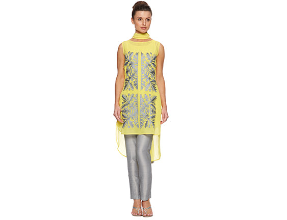 Yellow embroidered tunic suit Asian wedding guest outfit