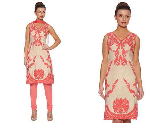 V-neck coral churidar dress suit by Raishma SS14 perfect for Apple shaped body type
