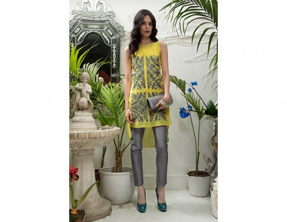 yellow tunic suit - dress and pants trend