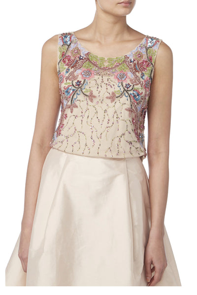 Floral Embroidered Cap Sleeve Top