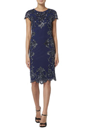 Navy and Mercury Scallop Dress