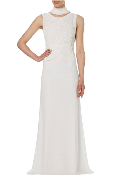 Ivory Beaded Peplum Georgette Gown