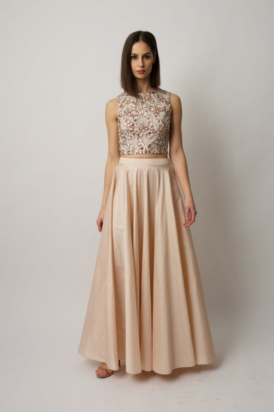 Blush Taffeta Maxi Skirt