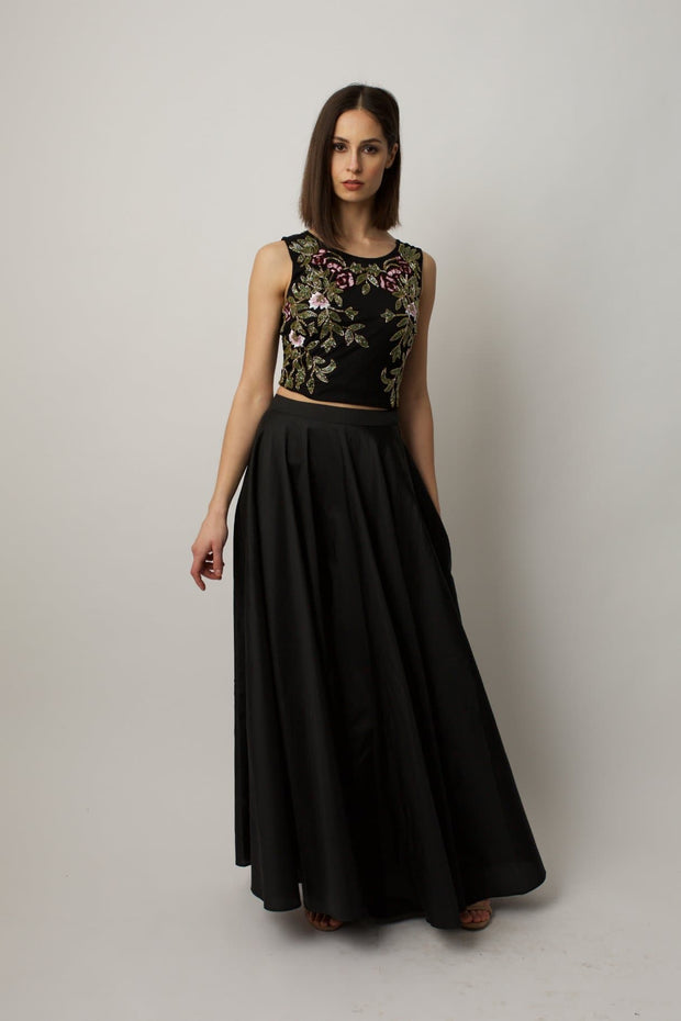 Black Taffeta Maxi Skirt