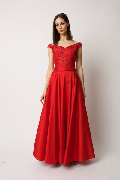 Red Taffeta Maxi Skirt