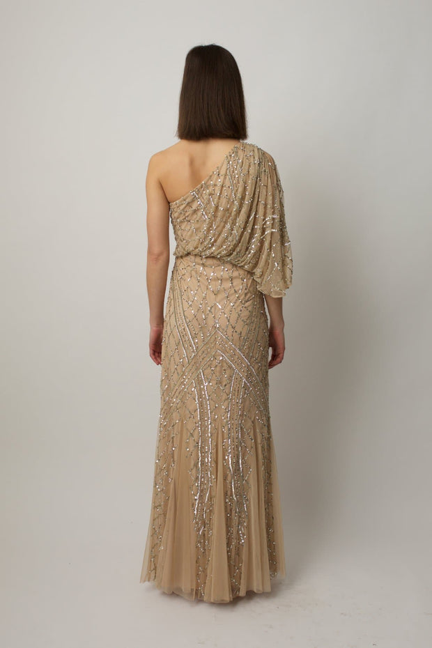 Champagne One Shoulder Gown