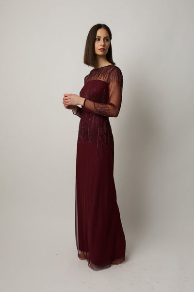 Burgundy Laurel Gown