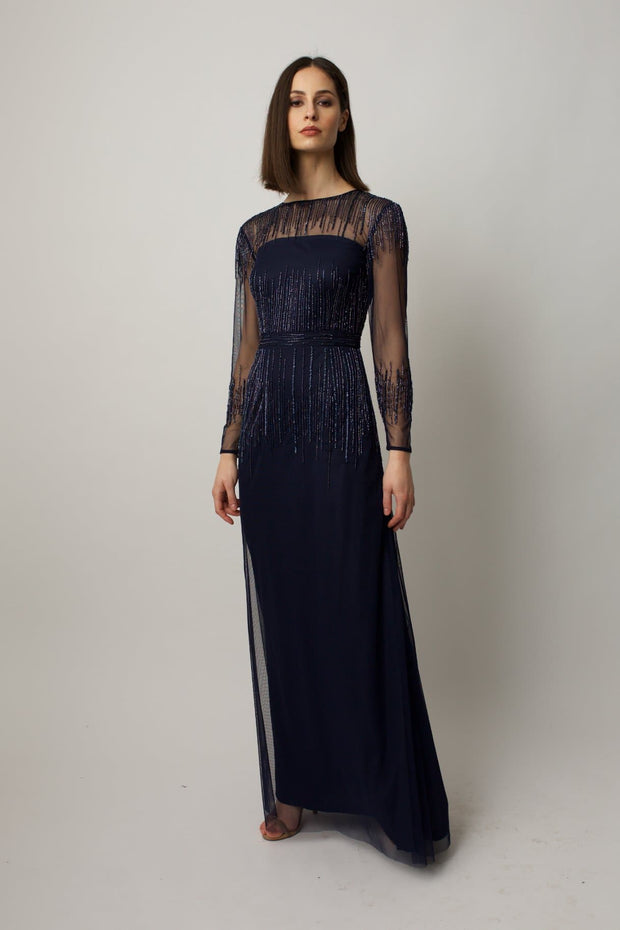 Navy Laurel Gown