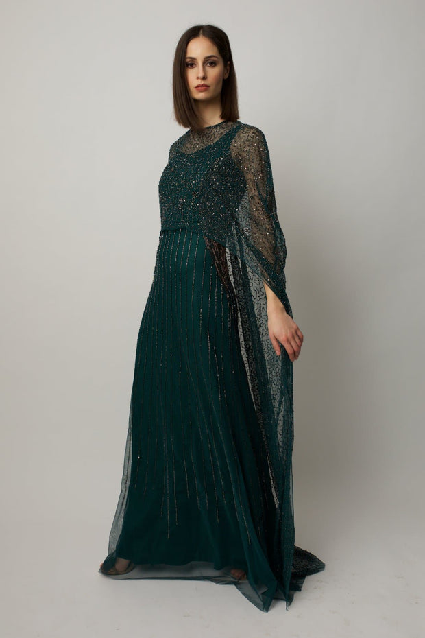 Green Melony Cape Gown