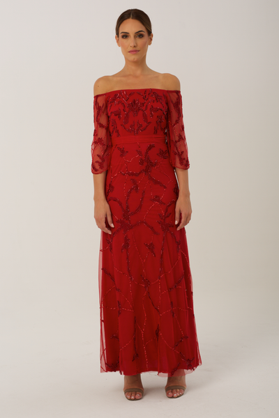 red poppy evening gown