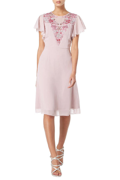 Angel Sleeve Mauve Dress