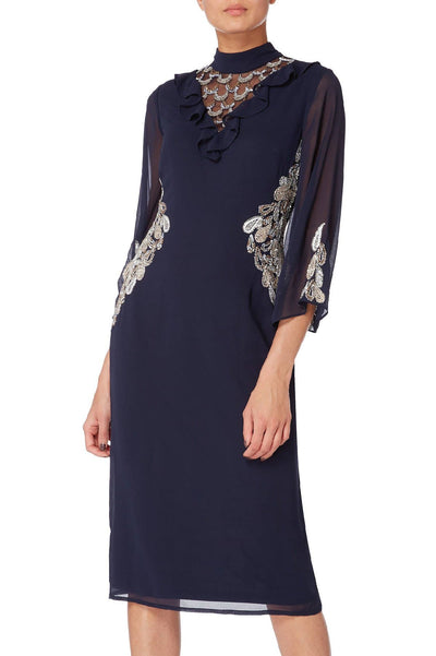 Navy Embellished Frill Cocktail Dress