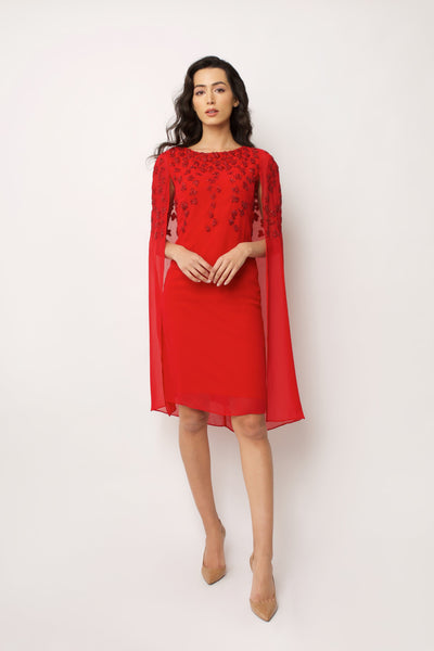 Red Gracie Cape Dress