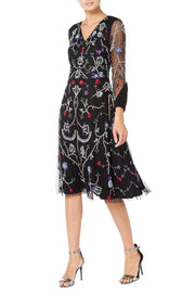 Black Multi Floral Midi Dress