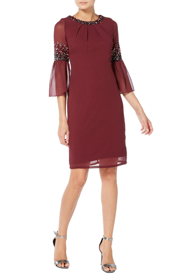 Burgundy Midi Dress with Pleated Sleeves