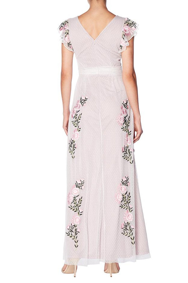 Lilac Floral Tulle Maxi Gown